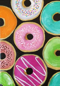 Original Acrylic Painting- Donuts – Art by Amanda Shelton – food art decorative art donut painting - New Sites Food Painting, Painting For Kids, Diy Painting, Small Canvas Paintings, Mini Canvas Art, Food Art For Kids, Art Kids, Colorful Donuts, 8th Grade Art