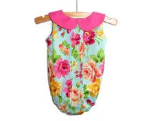 Baby girl romper girls playsuit floral by NaturalKidsClothing