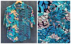 80s Santana Shirt Tropical Fern Birds of Paradise Jungle | Etsy Vintage Shirts, Vintage Outfits, Button Flowers, Blouses For Women, Faux Fur Collar, Paradise, Vogue Paris, Fern, Birds