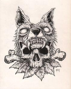 34 Ideas for tattoo wolf skull ink Wolf Tattoos, Skull Tattoos, Body Art Tattoos, Tattoo Sketches, Tattoo Drawings, Cool Drawings, Kritzelei Tattoo, Tattoo Bauch, Wolf Skull