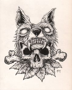 wolf skull illustration