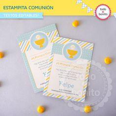 Estampita 1ra comunion niños en amarillo y celeste