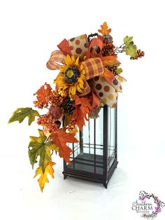 Fall Sunflower Lantern Swag Fall Lantern by SouthernCharmWreaths