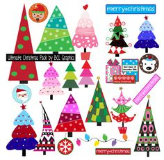 Ultimate Christmas Pack Clip Art Paper Buttons and by BCLGraphics