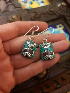 Tibetan Vintage Small Artisan ethnic Earrings. Ethnic jewellery Bohemian earrings mosaic handmade turquoise earrings #boho #earrings #bijoux #tibetan #jewelry