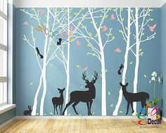 Removable Nursery Birch Tree Forest with Birds fawn doe buck.- Removable Nursery Birch Tree Forest with Birds fawn doe buck and Squirrels Owl Rabbit - Birch Tree Decor, Birch Trees, Rabbit Colors, Wall Painting Decor, Wall Murals, Wall Art, Tree Forest, Woodland Nursery, Forest Nursery