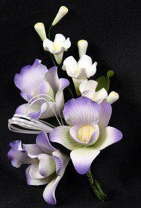 Spray of Lavender Orchid Gum Paste Flowers