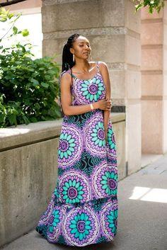 African Kaftan Dress Kaftan Maxi Dress Green and Purple Ankara Print Dress Korinko Sleeveless Sum Ankara Styles For Kids, Unique Ankara Styles, Beautiful Ankara Gowns, Beautiful Outfits, Beautiful Clothes, Beautiful Ladies, African Attire, African Dress, African Style