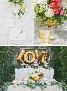 'LOVE' balloons, natural flowers + gold via @Basheera Khan, PLEASE