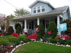 front yard landscaping with small grass area for a bungalow, love this