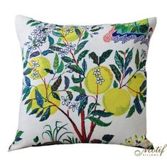 The Pillow Collection Gamila Floral Outdoor Yellow Blue Down Down Filled Throw Pillow