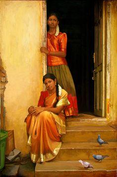 Tamil sisters watch outside of home - Painting by S. Elayaraja (www.elayarajaartgallery.com)