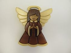 Intarsia Faith Angel, All Colors Are Natural Wood Color, No Paint Or Dye, Only A…