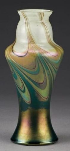 Rindskopf iridescent cased art glass vase