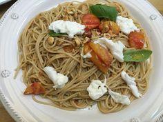 Weekday Gourmet's Summer Spaghetti with Heirloom Tomatoes, Basil, Toasted Hazelnuts + Burrata