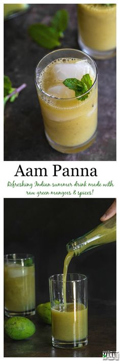 Aam Panna is a refreshing Indian summer drink made with raw green mangoes and a mix of spices. Mango Desserts, Mango Recipes, Shake Recipes, Smoothie Recipes, Smoothies, Drink Recipes, Aam Panna Recipe, Indian Drinks, Asian