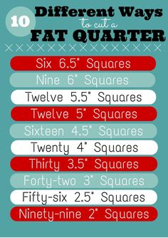 10 Different ways to cut a fat quarter. Source unknown