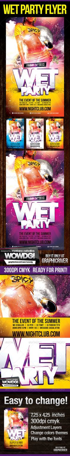 Superb PSD Wet Party Flyer Template • Only available here ➝ http://graphicriver.net/item/wet-party-flyer/5243380?ref=pxcr