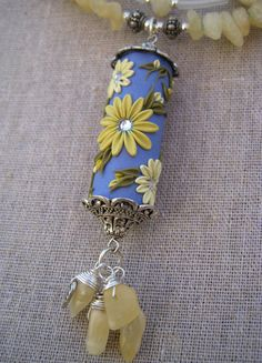 Necklace Polymer Clay Flowers Yellow by MoobieGraceDesigns, $35.00