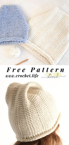Hill Crest Crochet Hat Pattern In 4 Sizes Crochet Beanie Pattern, Mittens Pattern, Easy Crochet Patterns, Knit Or Crochet, Free Crochet, Crochet Hats, Crochet Baskets, Hat Patterns, Free Knitting