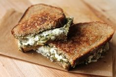 Grilled Pesto and Triple Cheese Sandwich