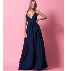 Princess Maxi Φόρεμα με δέσιμο στη πλάτη - Μπλε-Navy