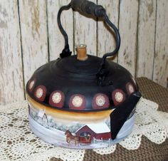 Vintage Tea Kettle Hand Painted Primitive Folk Art by raggedyjan