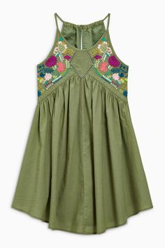 Buy Khaki Embroidered Dress (3-16yrs) from the Next UK online shop