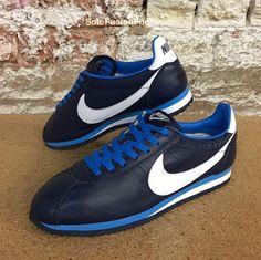 Nike Mens Cortez Premium Trainers Blue sz UK 11 Leather Retro Sneakers US 12 46  | eBay