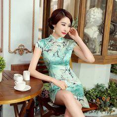 Short length Silk Fabric Cheongsam Qipao Chinese dress Z0039-01