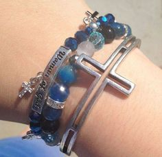 Blue & Silver Tone Woman of God Cross by liliesamongthorns on Etsy, $30.00