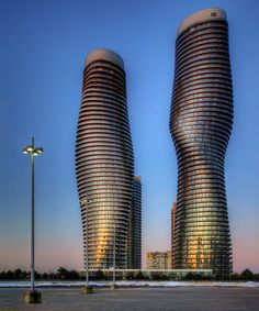 """MAD architects: Absolute Towers in Mississauga, Canada (images, google)    Local Toronto residents have nicknamed the tower, """"Marilyn Monroe""""."""