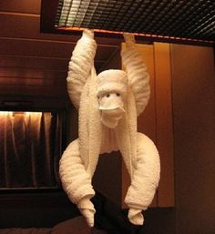 Monkey towel origami design. A rather quirky and fun looking towel design that you can definitely play with.
