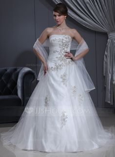 Ball-Gown Sweetheart Chapel Train Tulle Charmeuse Wedding Dress With Ruffle Beading Appliques Lace (002000280) - JJsHouse