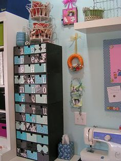 IKEA FIRA boxes - sort letters and diecuts into drawers decorated with paint and paper - great scrapbooking store and craft room store. LOVE how organized this scrapbook room is! Scrapbook Organization, Craft Organization, Scrapbook Storage, Space Crafts, Home Crafts, Craft Space, Turquoise Room, Coin Couture, Craft Room Storage