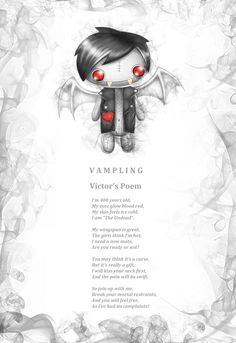 """Break your mortal restraints and join up with our 400 year old vampire """"Victor Vampling"""" Just a small little kiss on the neck and it's all over  www.myfrightlings.com"""
