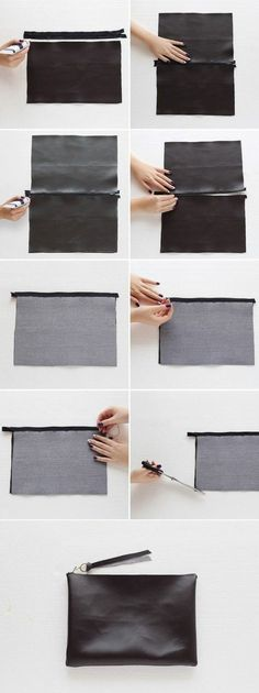 Sewing Projects DIY Fashion - no-sew leather clutch bag tutorial; craft project idea - Besides being budget-friendly, this DIY bag is a no-sew project — all you need to hold the bag together is fabric glue! Sewing Hacks, Sewing Crafts, Sewing Projects, Sewing Diy, Project Projects, Sewing Tutorials, Leather Craft, Handmade Leather, Diy Bags