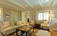 low ceiling with trim.
