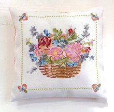 Handmade Rustic Flower Basket Cross Stitch Embroidery Decor Pillow Orange Gingham Fabric