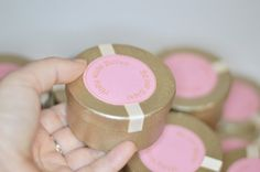 3 x 1.5 favor box round gift boxchampagne and pink by CocoDoro