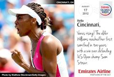 """Today's postcard reads: """"Venus rising! The elder Williams reached her first semifinal in two years with a win over defending US Open champ Sam Stosur."""""""