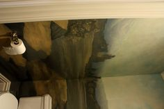 Maxfield Parish Inspired Mural for Powder Room