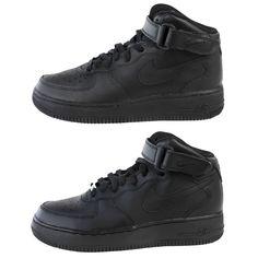 the latest af194 60106 NIKE Big Kids Black Black Air Force 1 Mid Sneakers 314195 Sz 6Y  75 NWOB