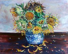 Original Oil Painting Sunflower Still Life 16x20 от JennyYaoCanvas