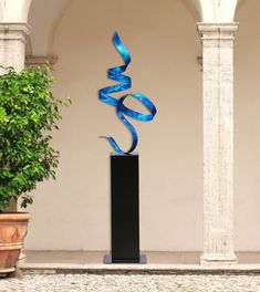 NEW! 5 foot tall Contemporary Blue Indoor-Outdoor Metal Sculpture - Handcrafted Abstract Garden Decor - Blue Perfect Moment by Jon Allen