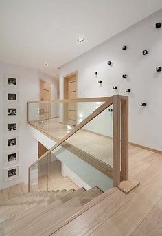 Modern Stairs // minimal wood stairs at the House Interior by Widawscy Studio Architektury Stair Railing Design, Home Stairs Design, Interior Stairs, Home Interior Design, Railings, Railing Ideas, Banisters, Glass Stair Railing, Bannister Ideas