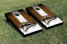 Western Michigan WMU Broncos Cornhole Game Set with available logo corn filled bags and carry case, Vintage Version #wmucornhole