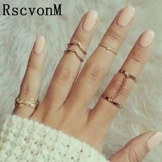 652728ad8 RscvonM 6 Pcs Punk style Midi ring sets Gold Color Knuckle Ring for women  Finger ring Fashion accessories jewelry