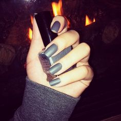 Matte gray nail polish. Perfect for the fall trend