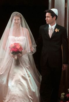 Brides.com: . Grace on Will and Grace. For awhile, it seemed like Grace would never marry and, instead, live happily-ever-after with BFF Will. But, alas, when it came time for the show's star to tie the knot to Dr. Leo she wore a ball gown that spoke to her whimsical style and the gravity of the milestone.